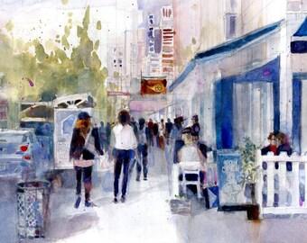Original Print  OR Original Watercolor -  CHARLES STREET