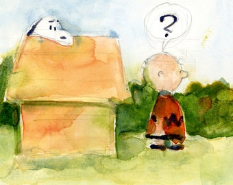 Snoopy and Charlie Brown -  6 X 8  Original Watercolor or Print Art - Children young and old Room