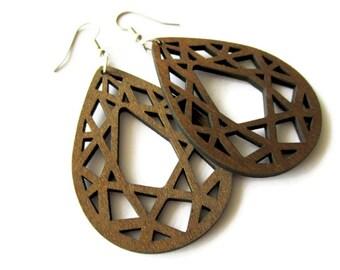 Lightweight Dyed Brown Wooden Geometric Teardrop Dangle Earrings   Hippie Boho Style Lazer Cut Earrings for Women   Gift for Her