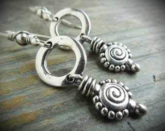 Silver Spiral Swirl Earrings