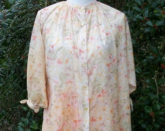 ON SALE 70s Sheer Floral Blouse size Small Medium Peach Orange Floral Tunic Billowy Sleeves