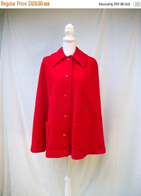 SALE 70s Red Wool Cape size Small Medium Pendleton Wool Cape Red Riding Hood