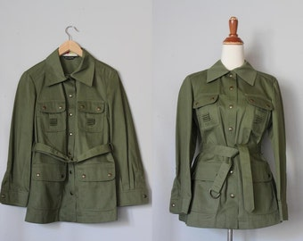 vintage 1960s belted MILITARY GREEN field jacket / vintage Cotton canvas trench coat
