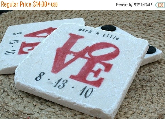 MEMORIALDAYSALE Personalized Coasters - Red Love Statue Tile Coasters - Wedding Gift For the Couple
