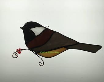 Chickadee Stained Glass Suncatcher