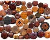 Fifty Antique Vegetable Ivory Buttons - Many Plaids and Checks.  Assorted designs and sizes.  1/2 to 7/8 Inch Diameter