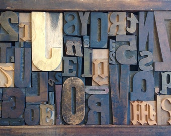 Antique Letterpress Printers WOOD TYPE Mix 47 Pieces