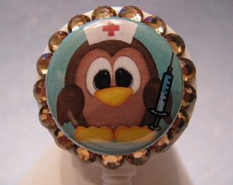 Retractable ID Badge Holder,ID Badge Reel,Nurse ID Badge Holder,Nurse Name Badge Holder,Name Tag Holder,Owl Nurse w Swarovski Crystal Bling