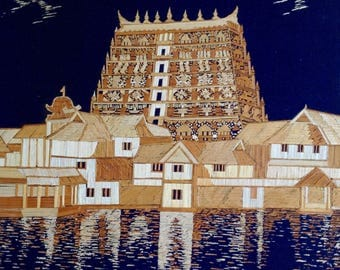 Hindu temple in Kerala, India. Handmade with rice straw. No color,paint or dye added to national color of rice straw. seen ancient straw art