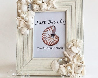 "BEACH DECOR PHOTO frame, white seashell frame, wedding photo frame, vintage coral, coastal, nautical, vertical or horizontal, for 5x7"" photo"