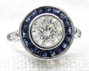 Art Deco Style Diamond Engagement Ring with Blue Sapphire Halo in 14k White Gold 1.56 Carats; Promise Ring; Vintage Diamond Ring