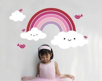 Happy Rainbow Wall Decal Cute Baby Rainbow Room Decor Removable Vinyl Wall Sticker Rainbow