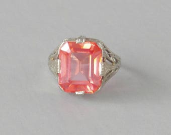 Antique Filigree Ring. 14k White Gold. Pink Synthetic Sapphire.