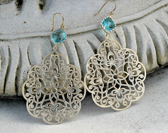 Gold Chandelier Earrings - Large, Aqua Jewel, Bohemian