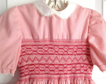Pink Smocked Girls Dress Easter Red Smocking Size 5T 1980s