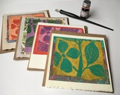 Dogwood Cards, block-printed cards, Dogwood leaves and flowers, hand-printed cards, folded card, recycled kraft envelope, blank cards