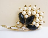 Vintage gold flower brooch with white pearl accents and black marquis crystals (H10)