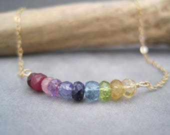 Rainbow Necklace - Hombre - Choker - Colorful - Semi Precious Stone - Birthstones - Faceted