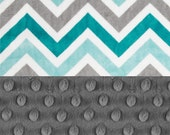 On Sale 48 x 60 Minky Blanket Boy, teal gray chevron Personalized Baby Blanket - Toddler Lap Size