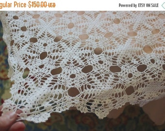 Holiday Sales 10% Off Handmade Crochet tablecloth -Doily Runner, Crochet Tablecloth Square, White Crochet Lace Bedroom Curtain, Unique Croch