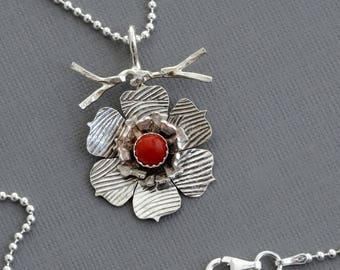 Red coral necklace sterling silver flower necklace botanical jewelry nature necklace etsy jewelry gift for her oxidized flower jewelry