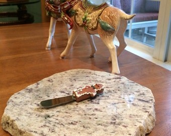 "Christmas Upcycled Granite Cheese Cutting Board - 9 x 9 x 1"" with Gingerbread Man Cheese Knife #3"
