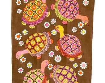 Kitchen Tea Towel Turtles Flowers Vintage Linen Wall Hanging Textile Ulster