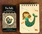 Mermaid Gift Set - Enamel Pin & Wood Mini Notebook - Cute Gift - Party Favor - Stocking Stuffer - B1059