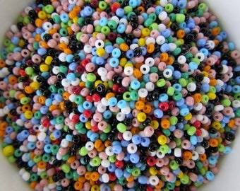 Czech Glass Seed Multi Colored Opaque Rocailles Size 10/0 gsb0001 (10 grams)