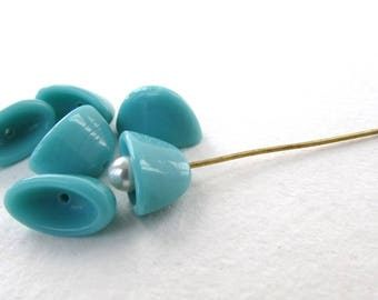 Vintage Beads Glass Bead Caps Turquoise Flat Oval West Germany 12x7mm vgb1158 (6)