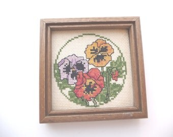 Pansies cross stitch, vintage framed  picture, handmade, Sunset Designs, vintage 1982, vintage home decor, wall hanging, flowers,unique art