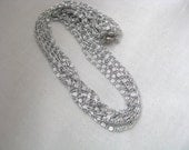 Silver tone multi strand necklace Silvery Cascade by Sarah Coventry