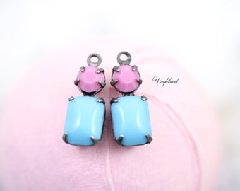Turquoise Blue & Pink Connector 16x6mm Vintage Octagon Glass Drops Set Stones Silver Antique Brass Prong Settings - 2