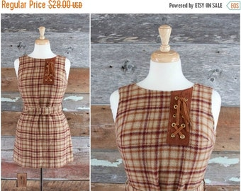 SALE 1970s plaid wool mini dress | brown plaid mini jumper with suede leather accent | mod dress | size xs/s