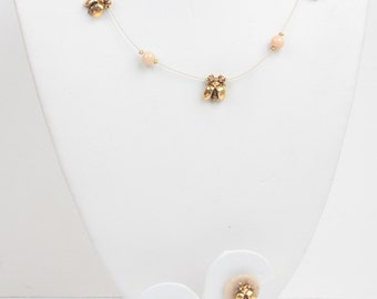 Gold Tone Bees Necklace and Post  Earrings Set Vintage