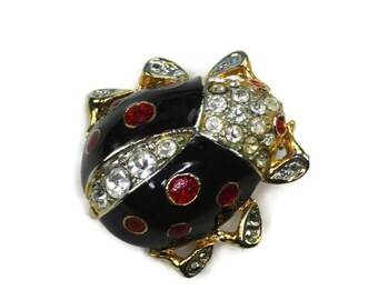 Enamel and Rhinestone Ladybug Pin Brooch Vintage