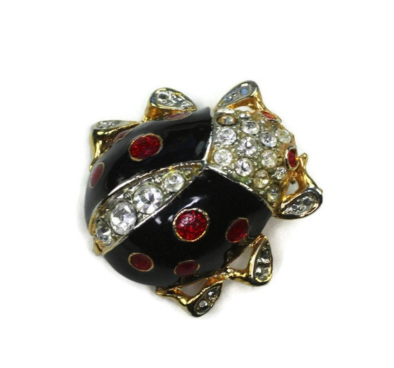 Black Enamel and Clear Rhinestone Ladybug Pin Brooch Vintage