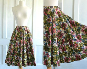 50s Circle Skirt Watercolor Floral Batik Print Quilted Skirt - Metallic Gold Quilting - 25 inch waist