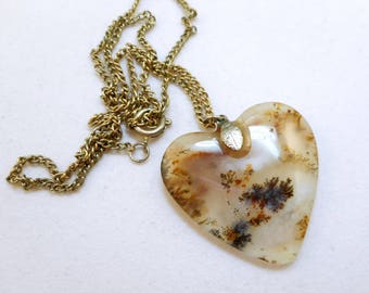 Moss Agate Heart Pendant Necklace