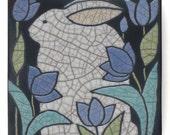 Rabbit, Bunny ,4x4 raku fired art tile,handmade ceramic tile, home decor, wall art