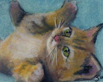 original art  aceo drawing orange tabby cat kitten at play