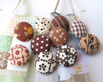 Brown Coffee Fall Autumn Colorway Floral Flower Geometry Dots Check Stripe Patchwork-Handmade Fabric Covered Buttons(0.75 Inches, 10PCS)