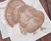 Metallic Copper Turkey Tea Towel, Thanksgiving Tea Towel, Kitchen Towel - Hand Printed Flour Sack Tea Towel (Unbleached Cotton)