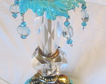 Upcycled vintage brass candle holder with bling hand painted redo turquoise