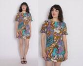 Vintage 60s JUNGLE Print DRESS / 1960s Mod Giraffe Leopard Novelty Print Mini Dress S