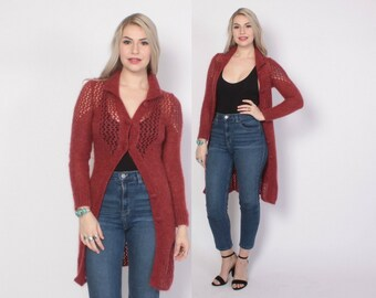 Vintage 90s CARDIGAN / 1990s Long Soft Shaggy Wool Angora Cardi Sweater Jacket