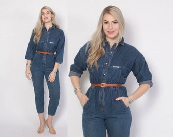 Vintage 80s Denim JUMPSUIT / 1980s Fitted Blue Jeans Snap Front Coveralls XS