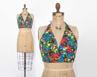 Vintage 70s Halter Top / 1970s Bright Cotton Floral Print Boho Backless Crop Top