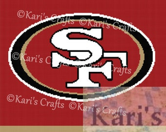 San Francisco 49ers Afghan PDF Pattern Graph + Written Instructions - Instant Download