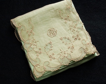 Madeira Antique Embroidery on Organdy Handkerchief Holder 1930's